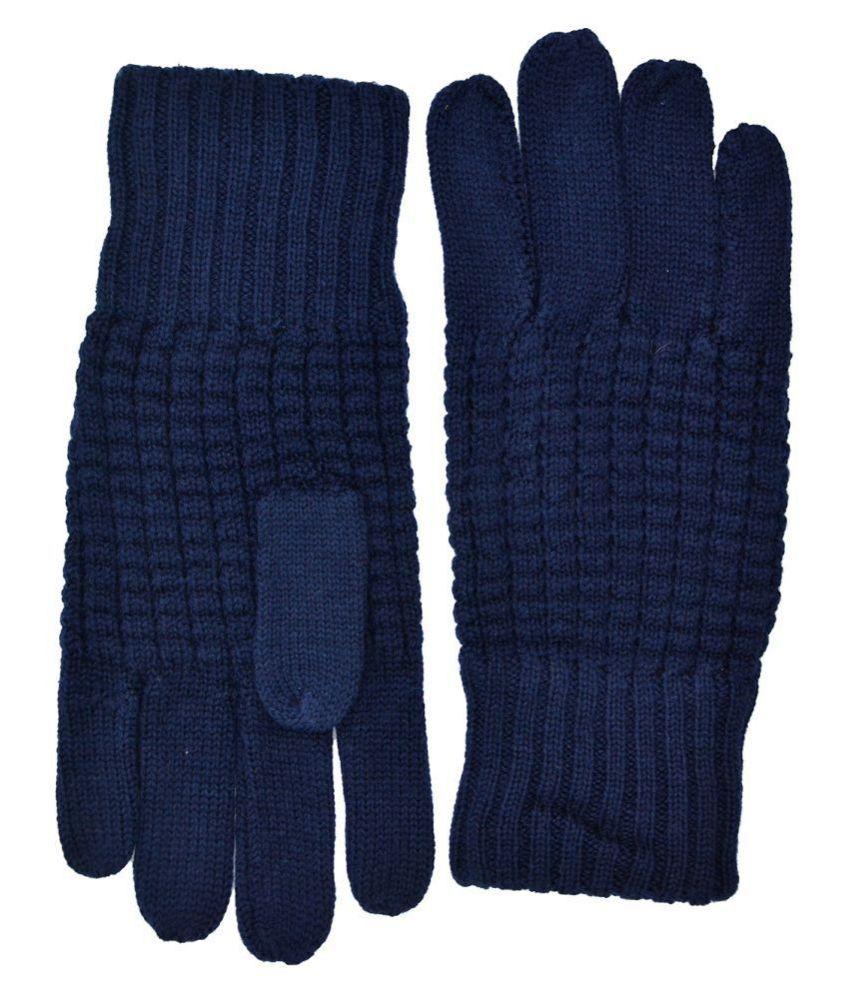 Model Men 100% Pure New Wool Winter Wear Gloves Navy Blue