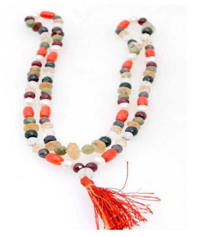Precious Stone Navratna Beads Mala Lab Certified 9 Gems Stone Mala For astrological Purpose.