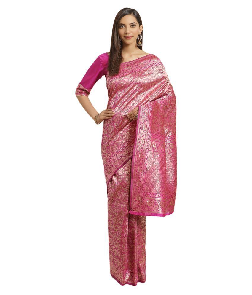 Salwar Studio Pink Banarasi Silk Saree
