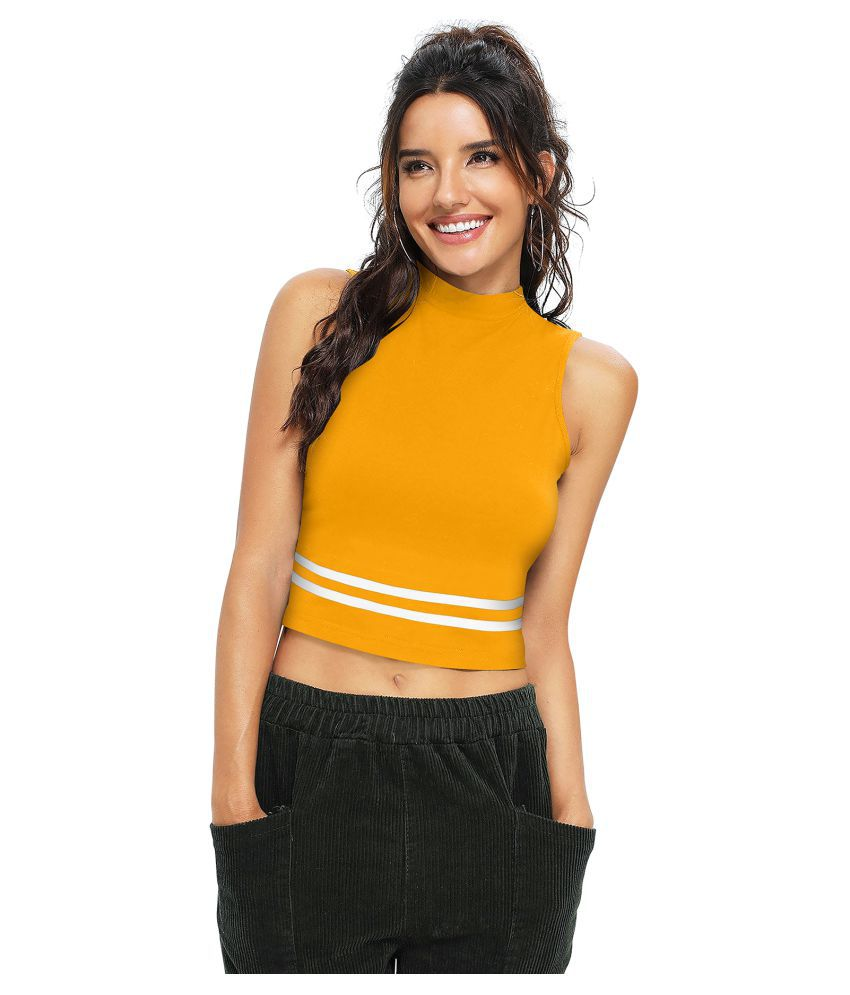 TRYZY Poly Cotton Yellow T-Shirts