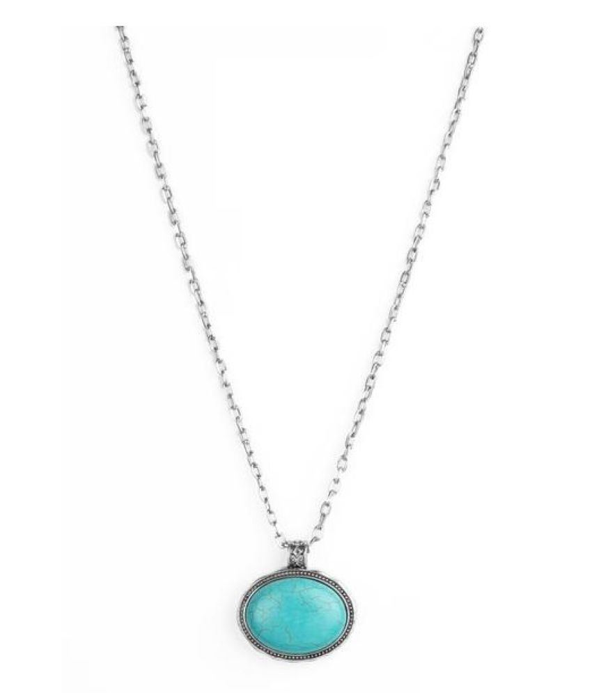 Turquoise  original & lab certified 10.25 ratti silver Pendant without chain for astrological purpose by Kundli Gems\n