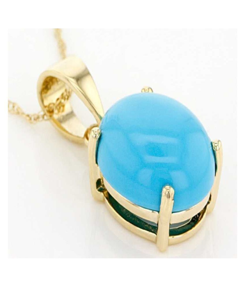 2.5 ratti natural Turquoise Stone pure Gold Plated Pendant without chain for unisex by Ratan Bazaar\n