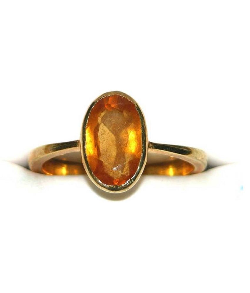 4 Ratti Hessonite Ring With Natural  Gold Plated Stone Ring  by Ratan Bazaar