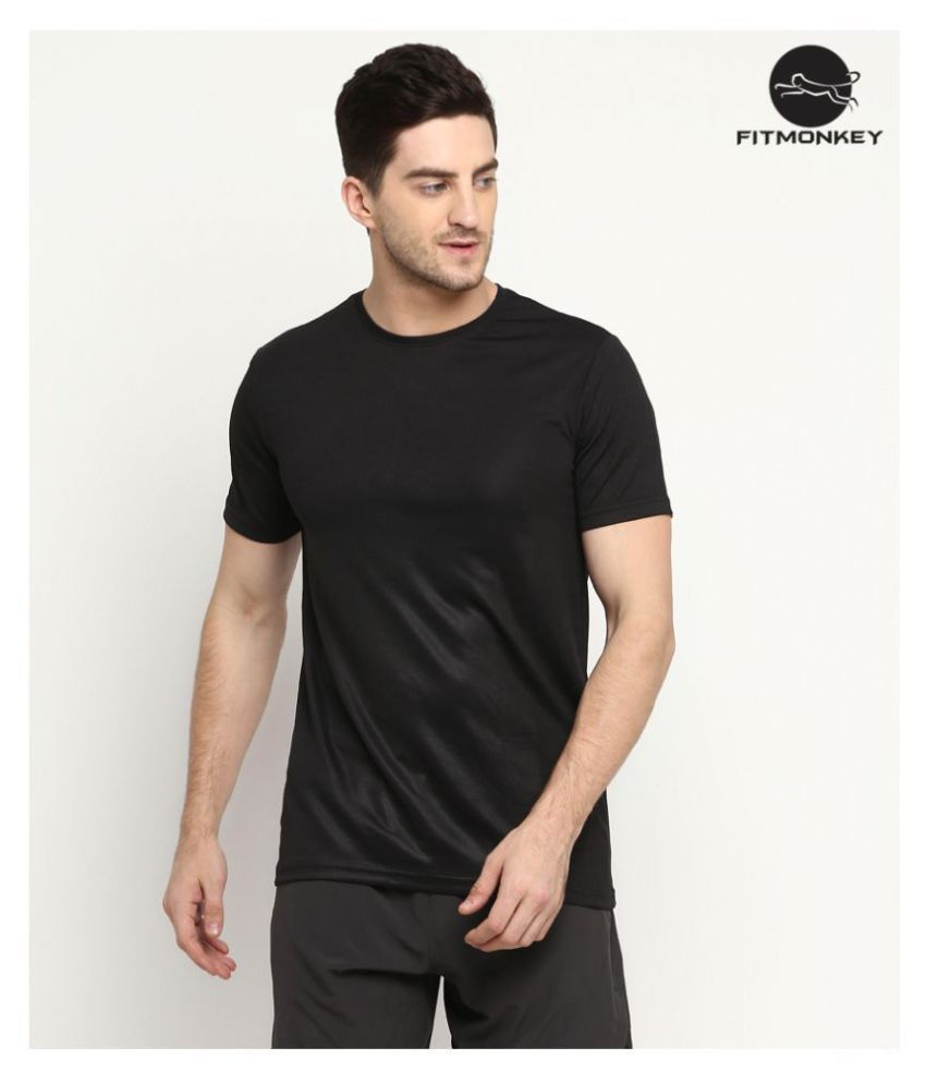 FITMonkey Black Polyester T-Shirt Single Pack