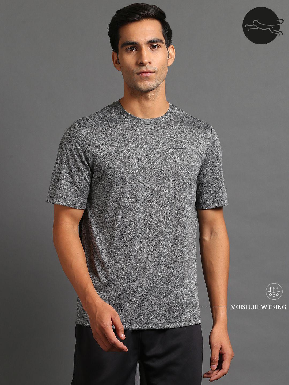 FITMonkey Grey Polyester Sports T-Shirt for Men