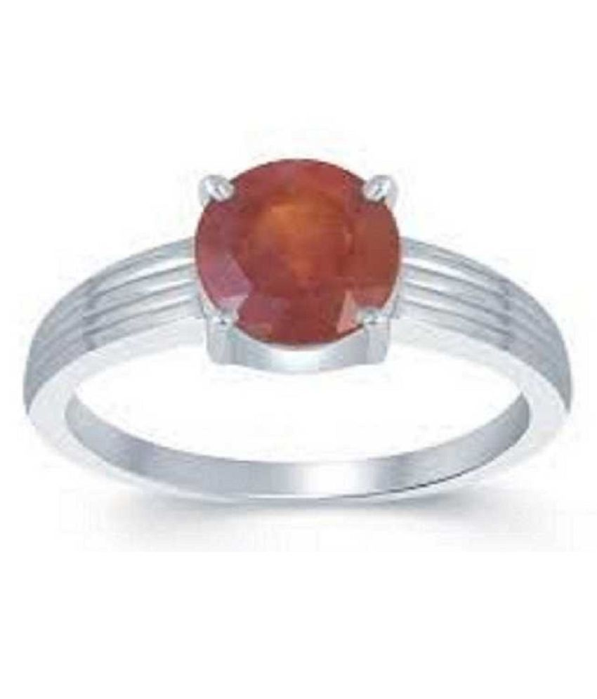 Hessonite Ring in 4 carat sterling silver  by Ratan Bazaar