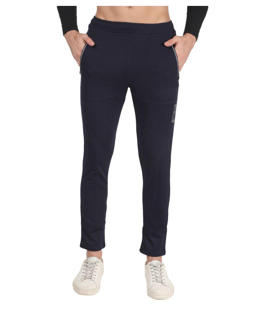 ROXBURGHI Men's Slim Fit Blue Track Pants