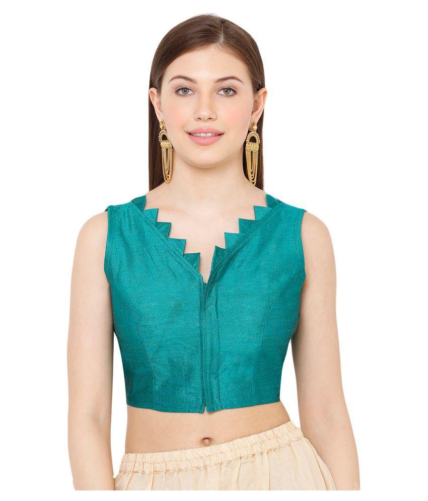 Salwar Studio Green Dupian Silk Readymade with Pad Blouse