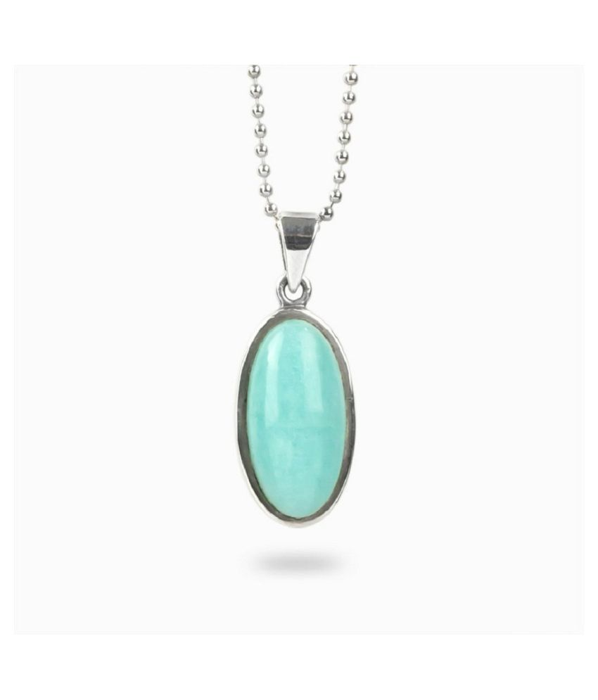 Turquoise (Firoza)Pendant in 2 carat Silver without chain by Ratan Bazaar