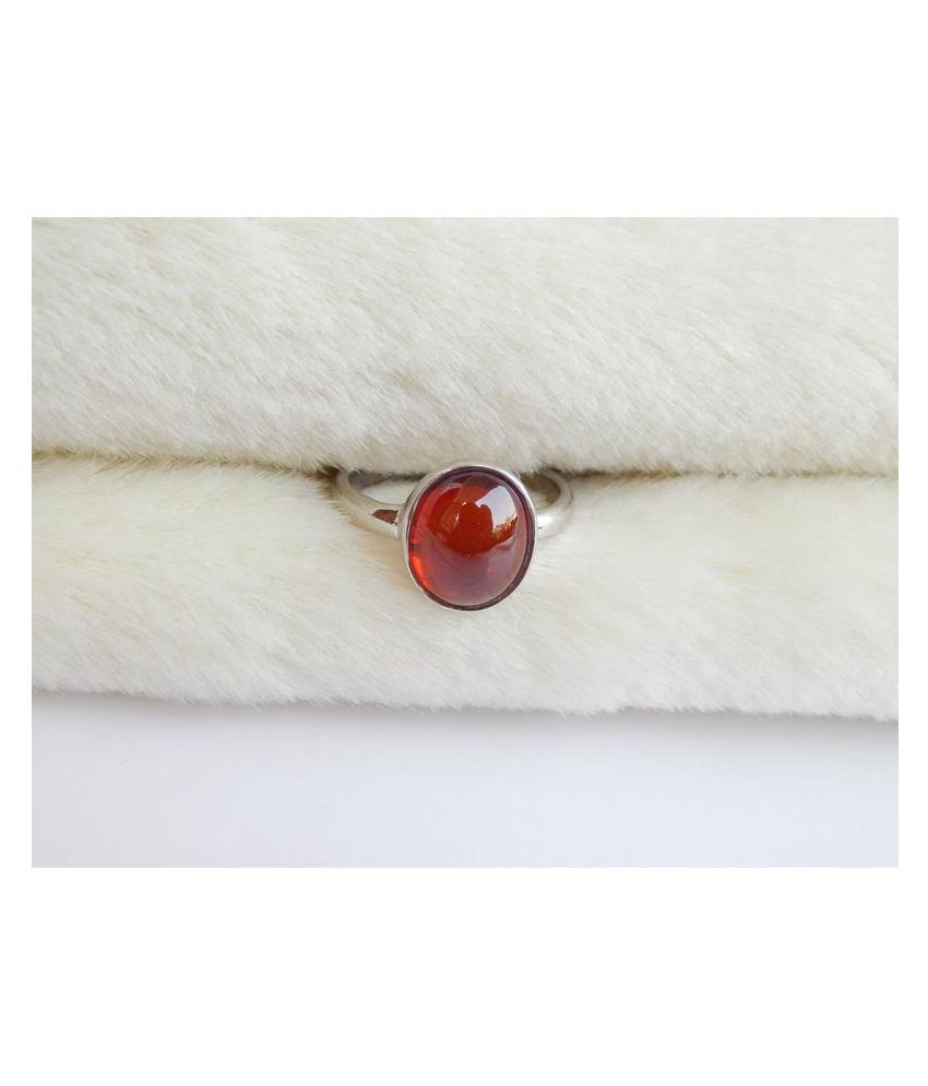 12 Ratti Hessonite Ring With Natural Silver Stone Ring  by Ratan Bazaar