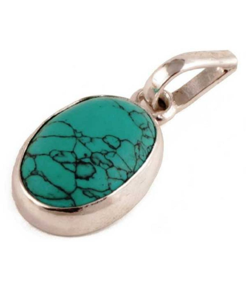 9 Ratti Turquoise Pendant with Natural Gold Plated Turquoise Stone without chain by Ratan Bazaar