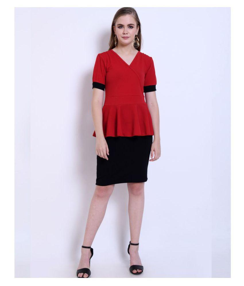 Addyvero Cotton Lycra Red Peplum Dress