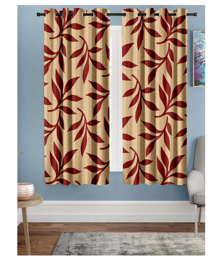 Hometique Single Window Semi-Transparent Eyelet Polyester Curtains Red