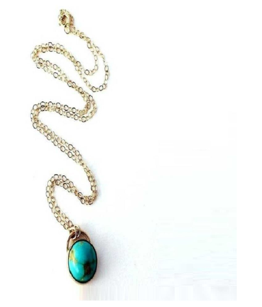 Ratan Bazaar-  7 Carat Turquoise Pendant with Natural Turquoise Stone Astrological & Lab Certified Gold Plated Turquoise Stone