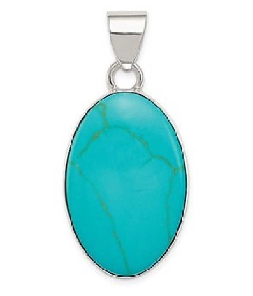 Turquoise  Pendant 10 Ratti 100% Original Silver Turquoise (Firoza)  Stone without chain by Ratan Bazaar
