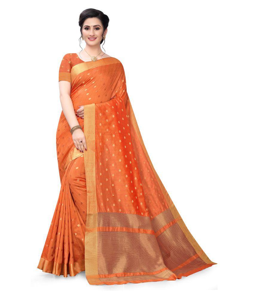 pandadi saree orange Cotton silk Saree