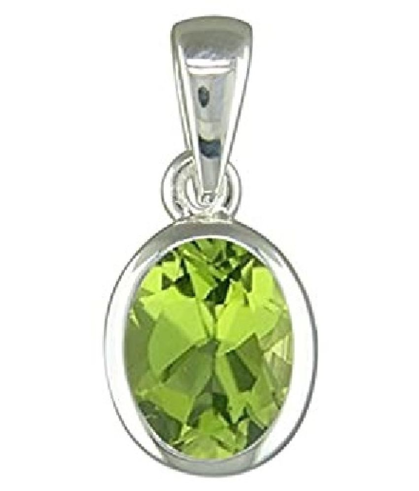 11.5 Ratti Peridot pure Silver Adjustable Pendant without chain for Unisex by Ratan Bazaar\n