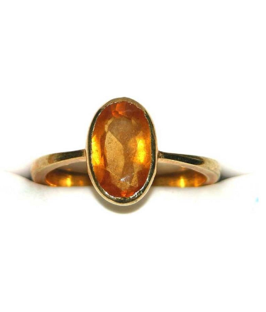 3 Ratti Hessonite Ring With Natural  Gold Plated Stone Ring  by Kundli Gems