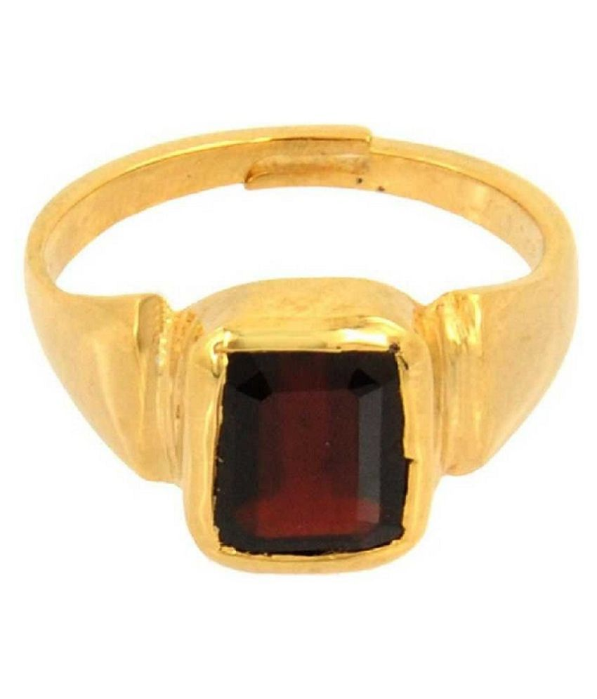 4.5 Ratti Hessonite  Gold Plated Adjustable Ring  for Unisex by Kundli Gems\n