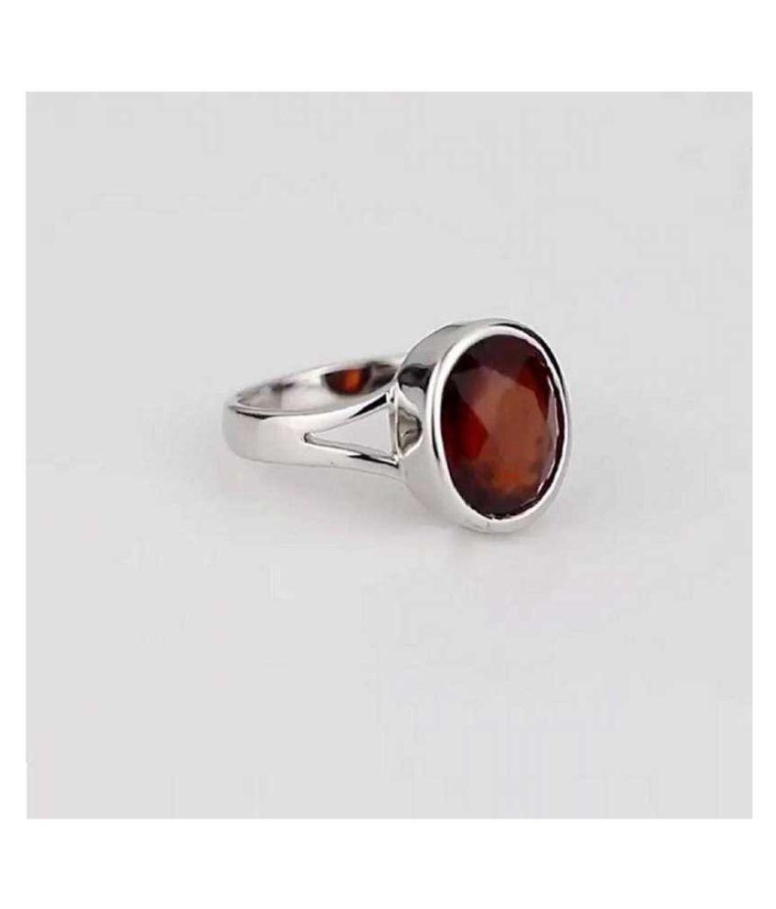 7 carat pure Hessonite Silver Ring  by Kundli Gems\n
