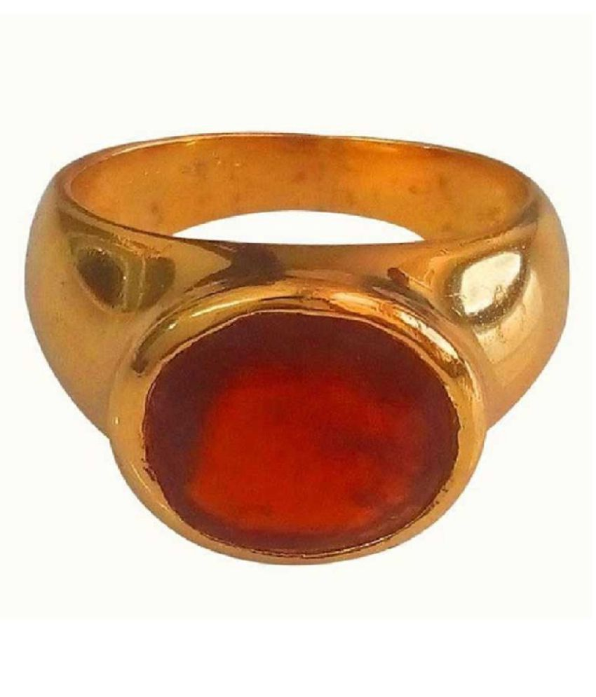 9.25 ratti  Gold Plated Hessonite(Gomed)  Ring  for unisex by Kundli Gems\n