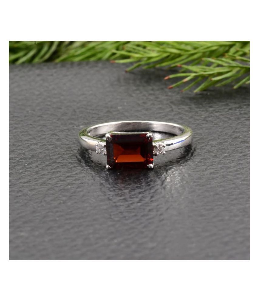 Kundli Gems-  11 Carat Hessonite Ring with Natural Hessonite Stone Astrological & Lab Certified Silver Hessonite Stone