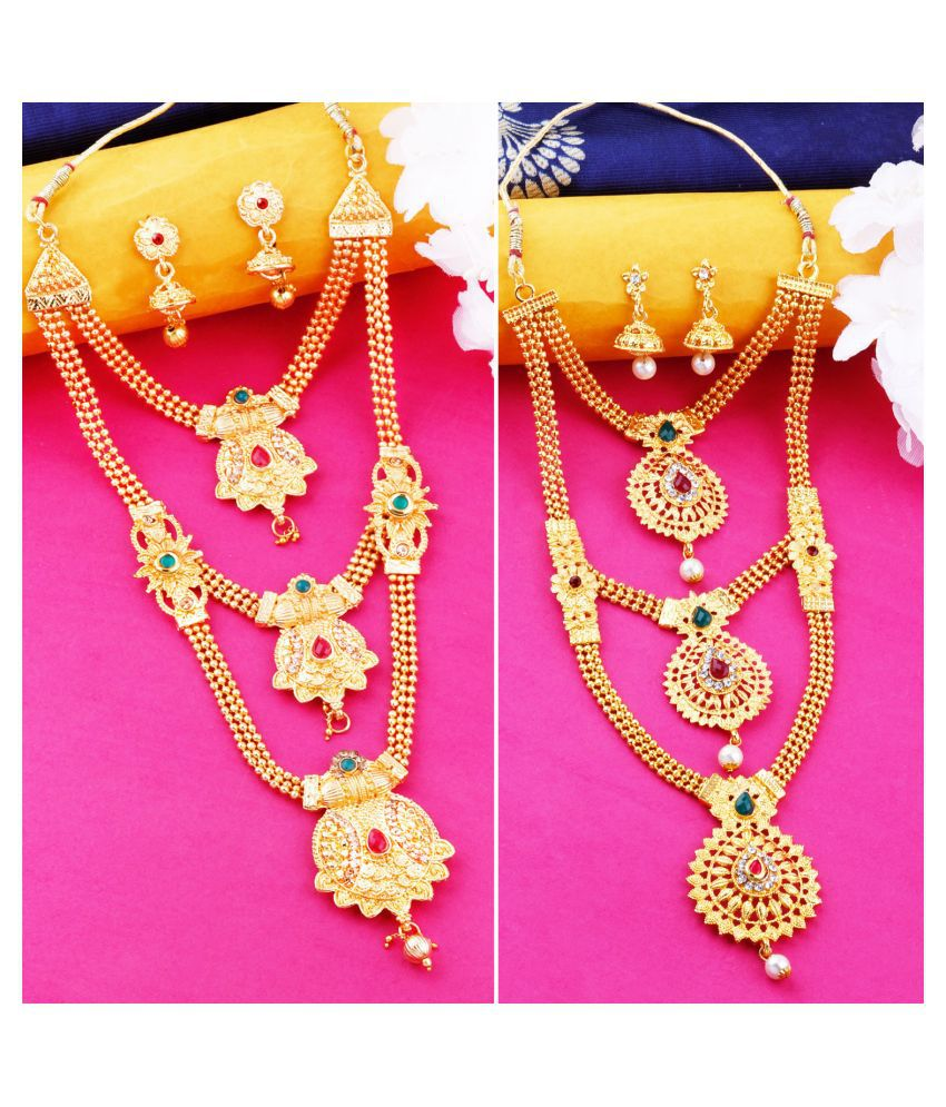 N M CREATION Alloy Golden Contemporary Contemporary/Fashion Gold Plated Necklace set Combo