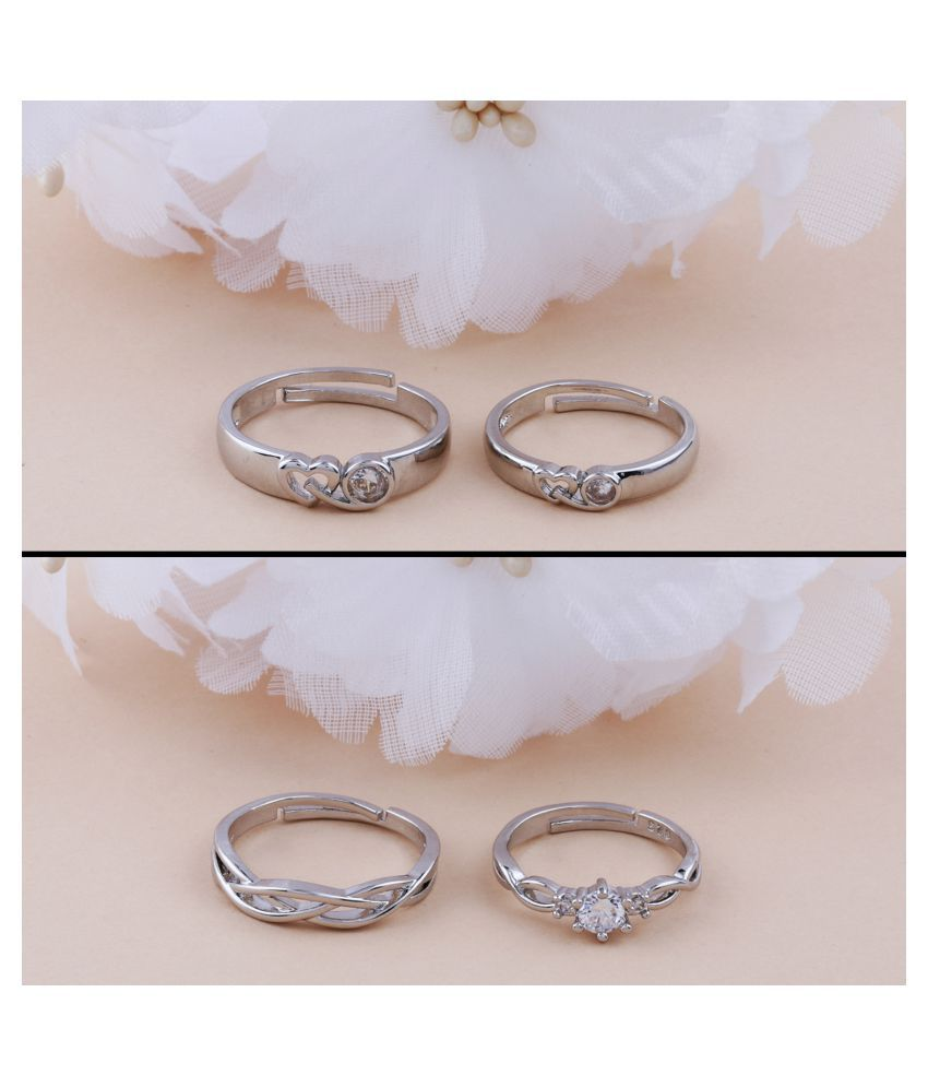 Adjustable Couple Rings Set for lovers Silver Plated Party Wear Solitaire for Men and Women 2 Pair