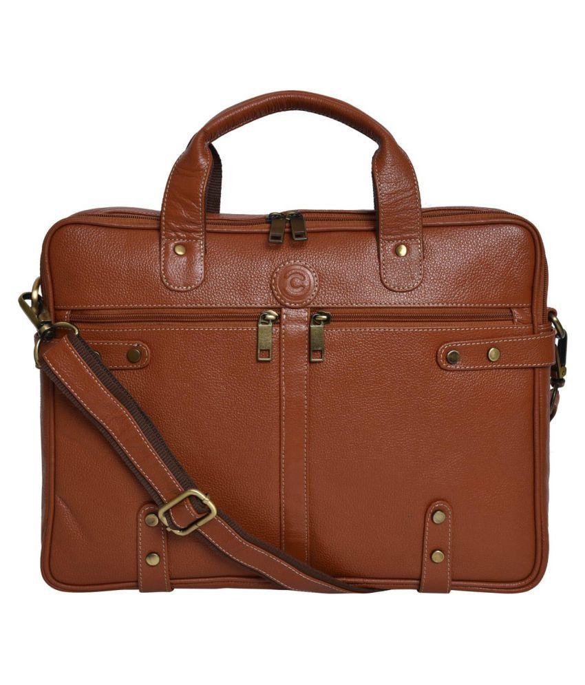 Cuero Cubo CCLB1000TAN Tan Leather Office Bag