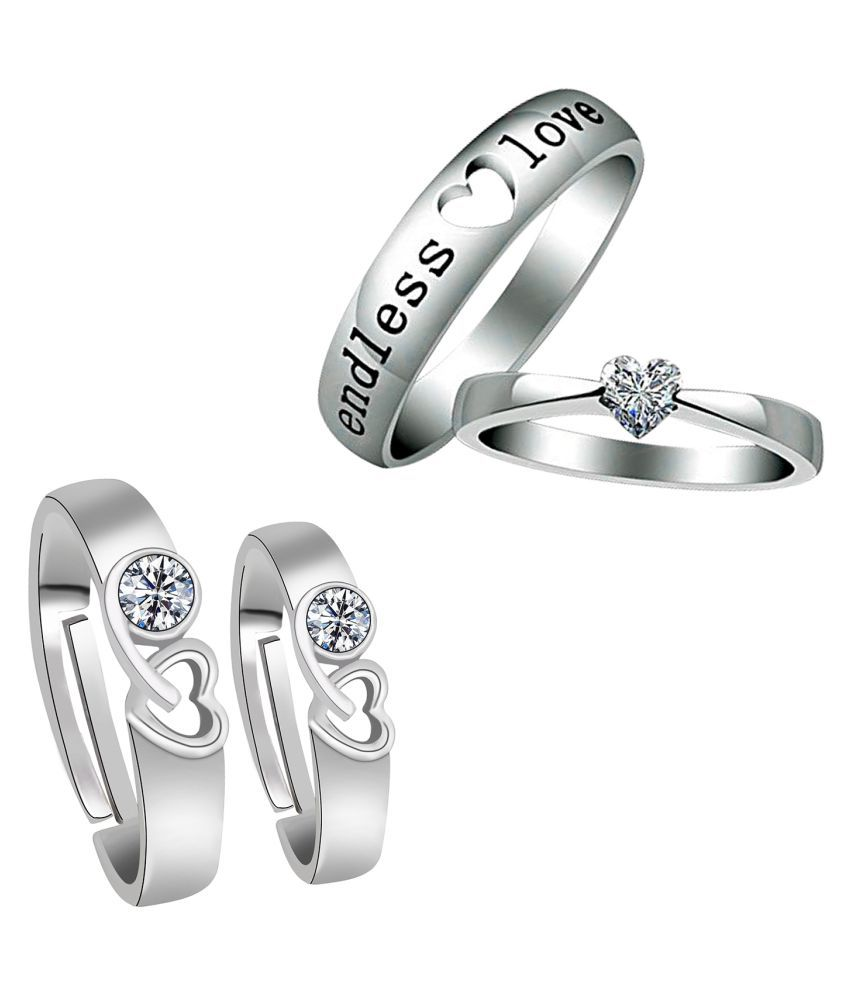 Party Wear Adjustable Couple Rings Set for lovers Silver Plated Solitaire for Men and Women 2 Pair
