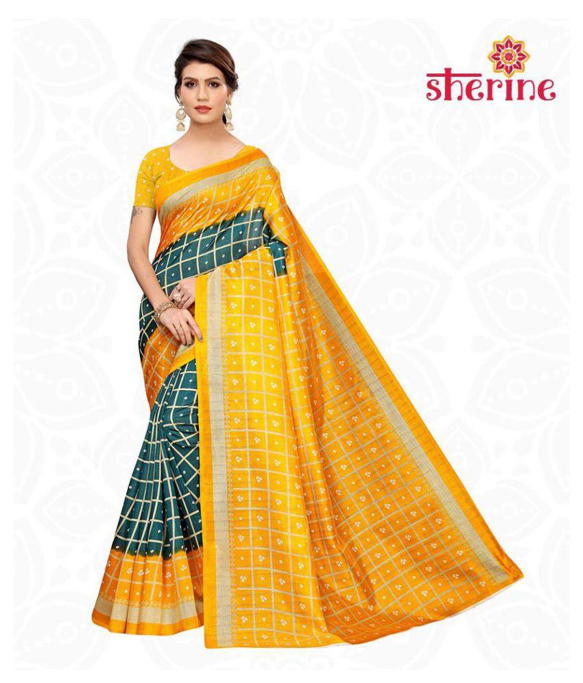 Sherine Yellow Printed Saree with Blouse Piece