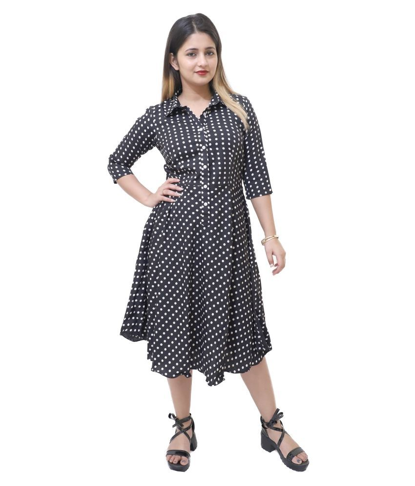 VBRIGHT FASHION Crepe Black Fit And Flare Dress