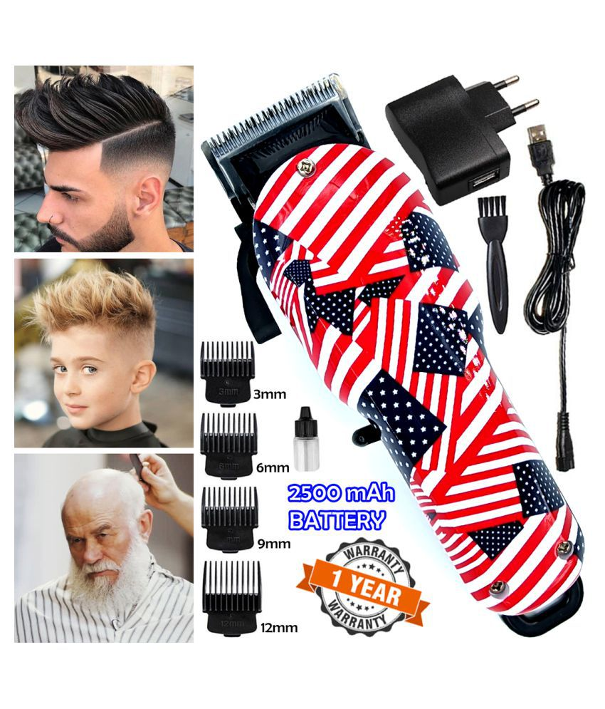 W Professional AC-DC Rechargeable Washable Beard Mustache Trimmer Hair Clipper Combo
