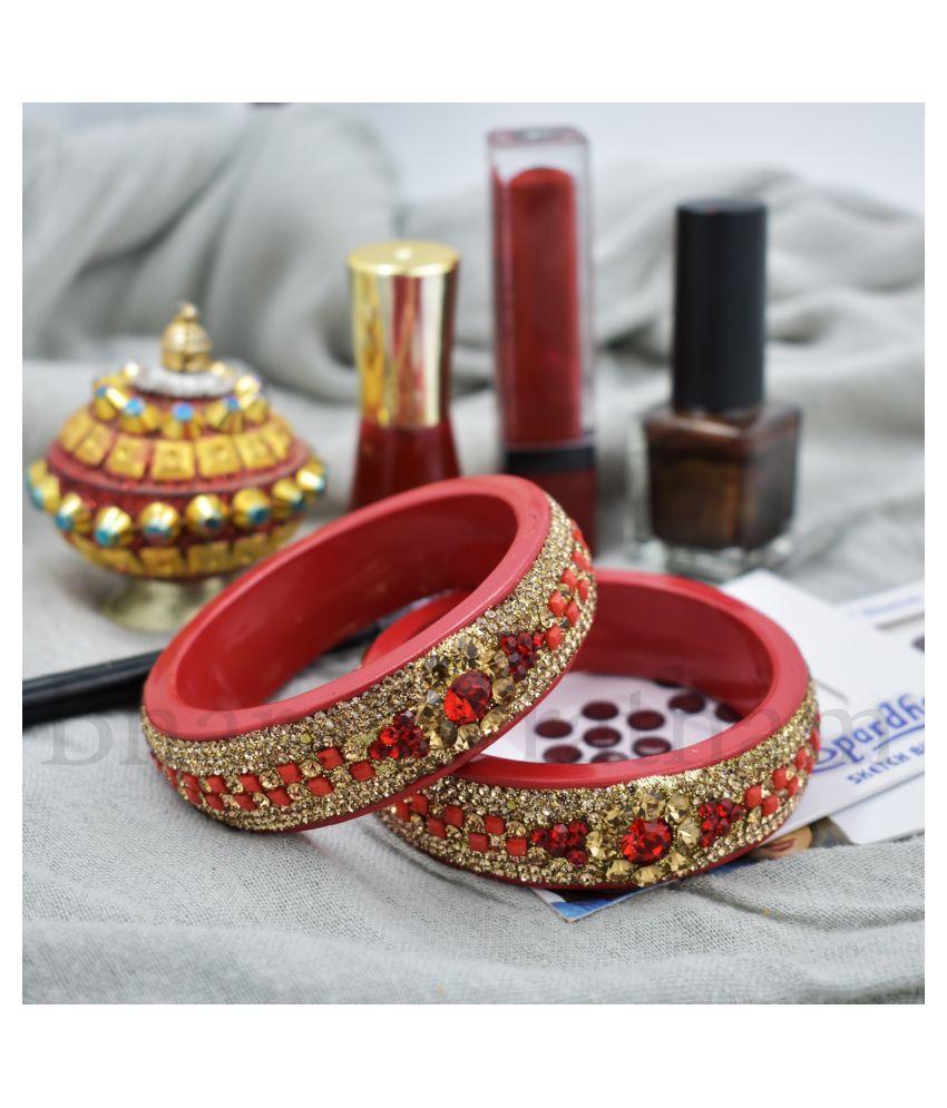 BHARAT PRATHAM-Shekhawati/Rajasthani Designer Kada/Bengal For Women | Bengals Chuda for Women | Bengals Handmade in Red Color 2 Piece Set With Good Stones