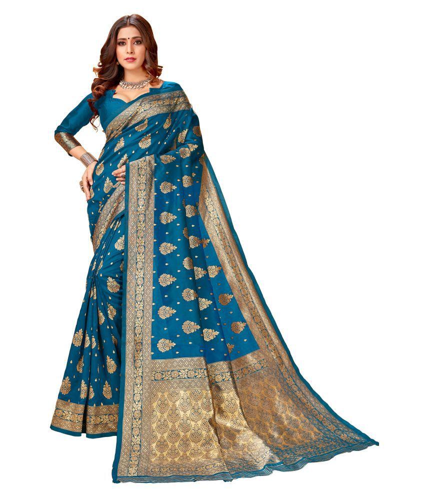 Dhandai Fashion Blue Jacquard Saree