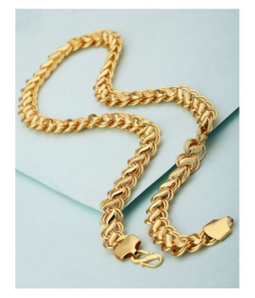 MANTRA ORNA IMPRESSIVE GOLD LOTUS CHAIN 20 INCHES LONG FOR MENS
