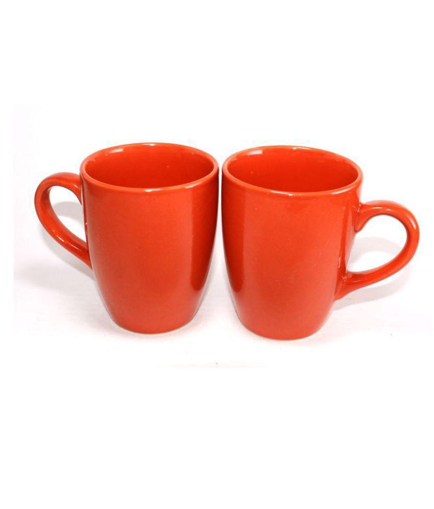 designo prints Plain Candy Red Mug Ceramic Coffee Mug 2 Pcs 325 mL