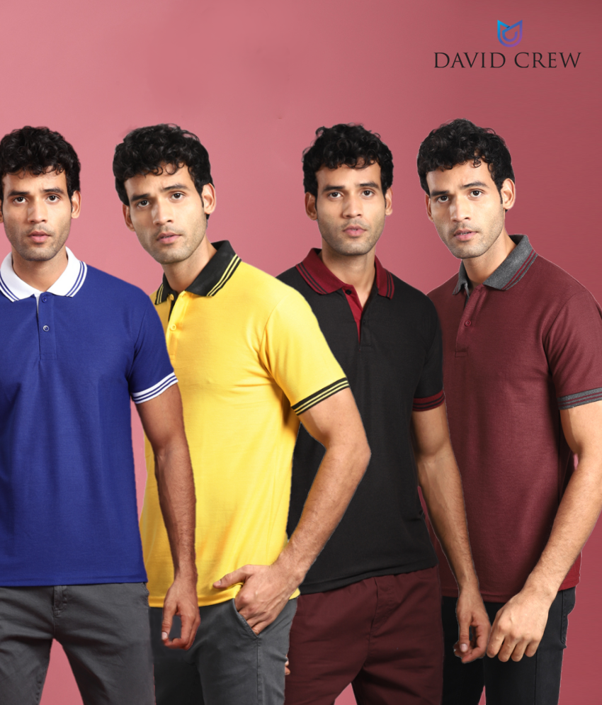 David Crew Pack of 4 Polyester Solid Polo T-Shirt for Men - Combo of Black, Blue, Maroon & Yellow