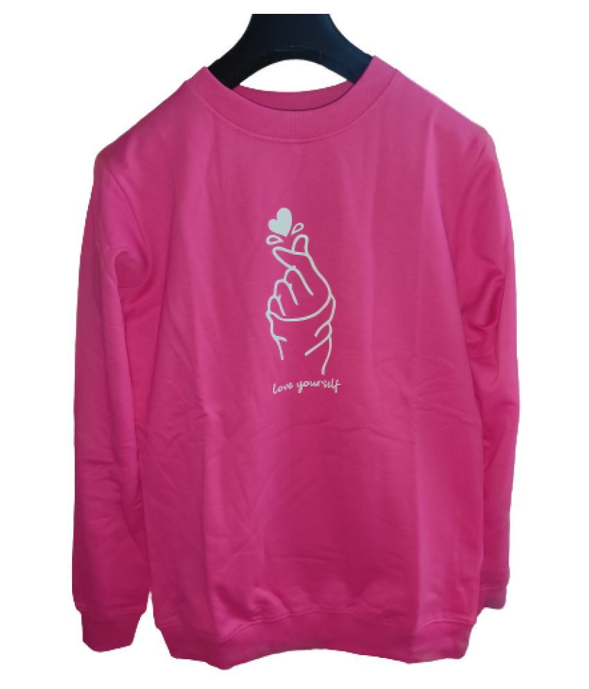Vastra Outfitters Cotton Pink Non Hooded Sweatshirt
