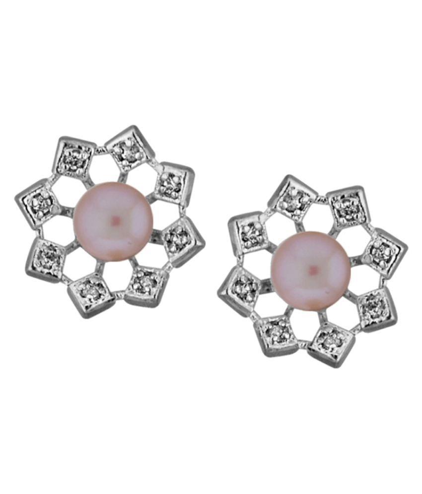 Stylish & Trendy Cz With Freshwater Pearl Studs By KNK Jewellery
