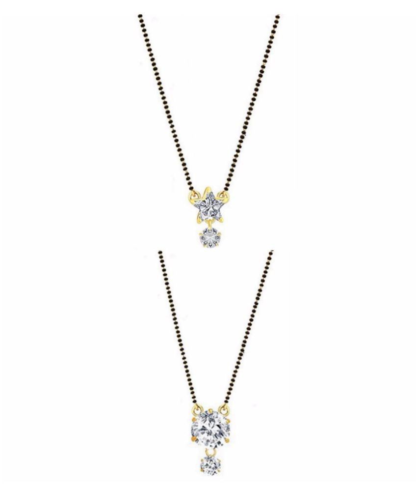 Digital Dress Room Short Mangalsutra Designs Gold Plated Latest Collection Jewellery Ethnic Traditional American Diamond Latest Design Mangalsutra Pendant Necklace with chain For Women