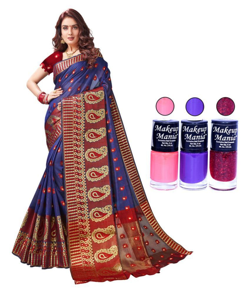 d'WiU Purple Cotton Silk Saree