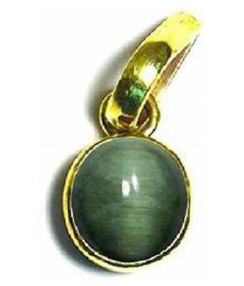 5 ratti Cats eye Stone Pendant Natural Cats Eye stone Certified & Astrological purpose for men & women Gold Plated  Cat's Eye Stone Pendant by Kundli Gems