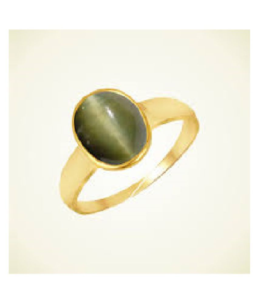 Cat's Eye Stone 5.25 Ratti Lab Certified Gold Plated Ring By Ratan Bazaar