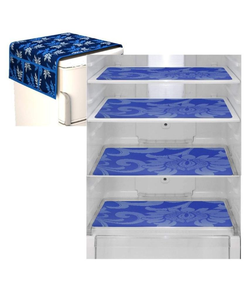 Delfe Set of 5 Polyester Blue Fridge Top Cover
