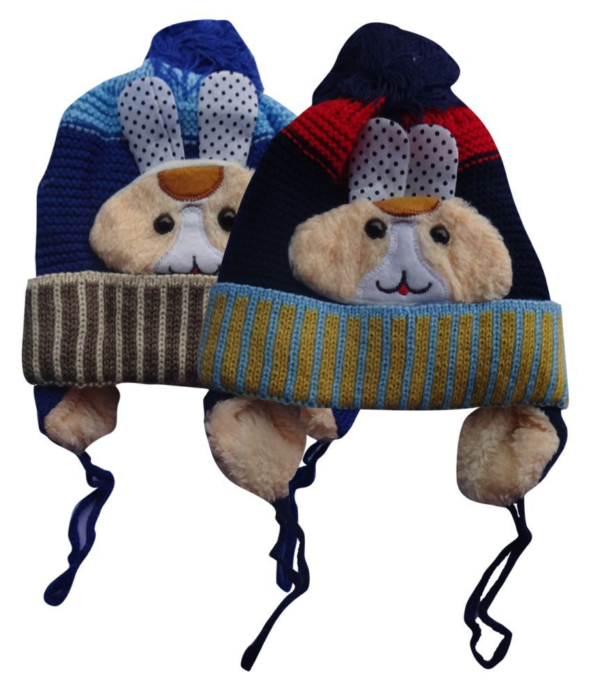 Raj Trader Multicolour Woollen Woolen Cap For Kids - Set Of 2