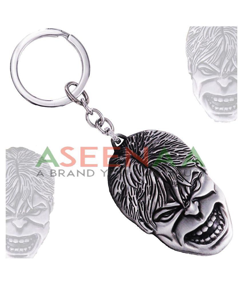 Aseenaa Metallic Keychain Alloy Single Grey