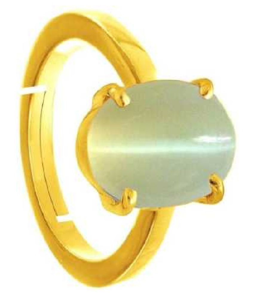 Certified 8 Carat Gold Plated Cat's Eye Ring by Ratan Bazaar