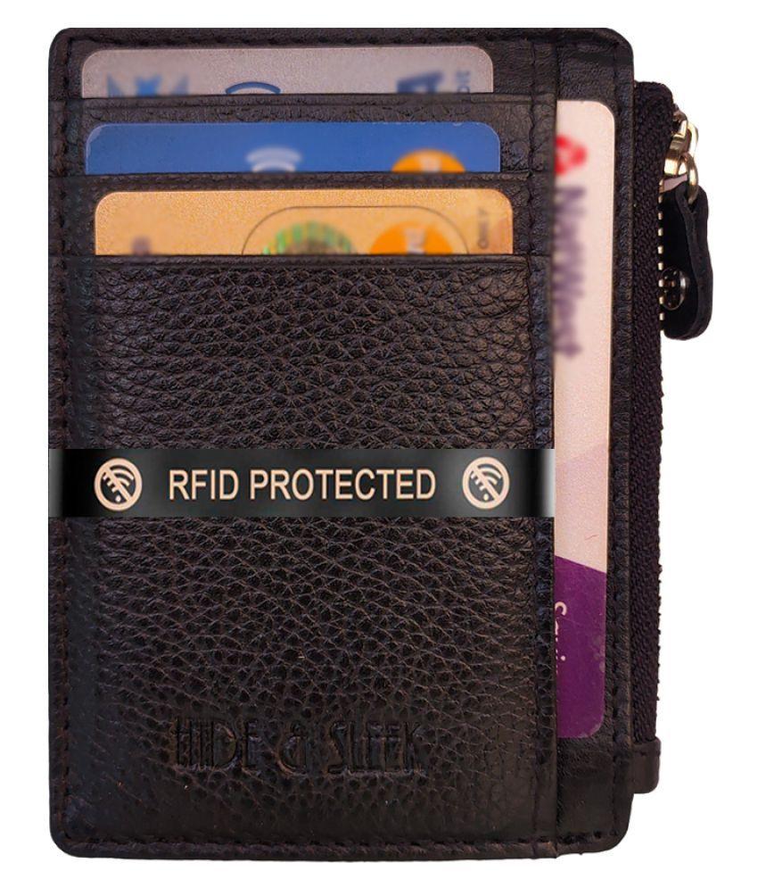 Hide&Sleek Slim Black RFID Protected Genuine Leather Zip Clouser Card Holder