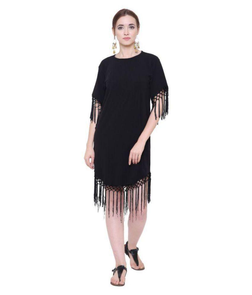 Marzeni Cotton Lycra Black Shift Dress